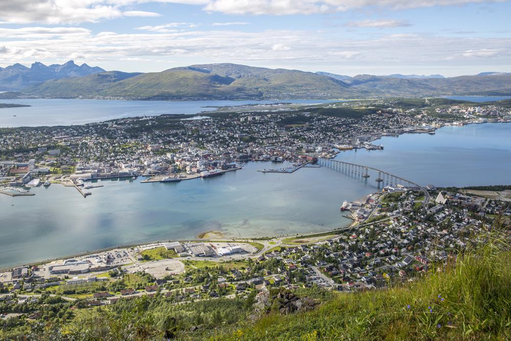 Vy över Tromsö i Nordnorge