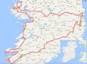 Kartan visar vår rutt under de 8 dagarna vi besökte Irland i maj 2015.