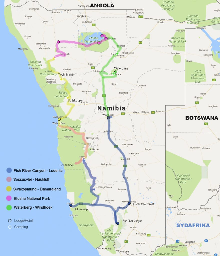 Vår rutt i Nambia. Rosa vägsträcka visar det här blogginlägget