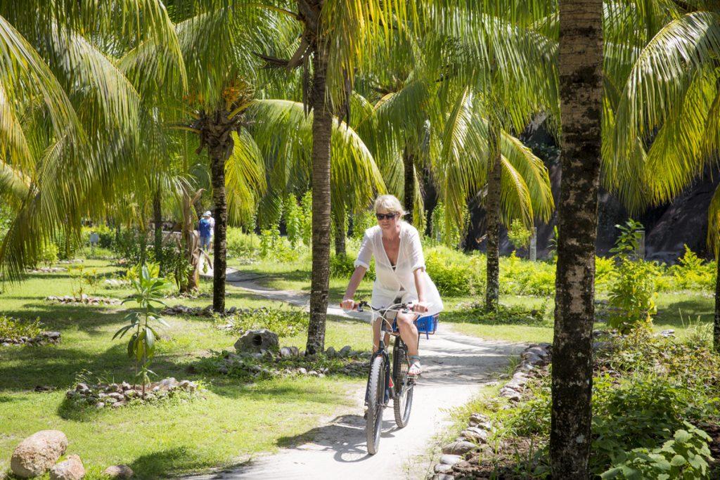 Vacker cykeltur genom parkliknande miljöer