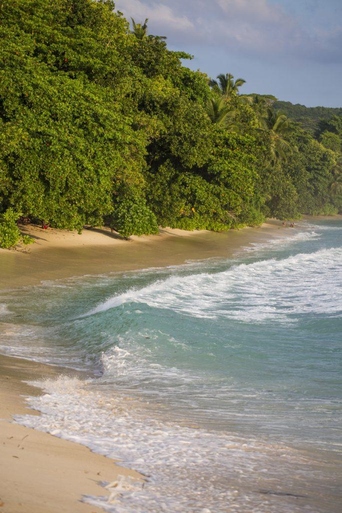 Vågorna sveper in över vår strand tillsammans med kvällsljuset
