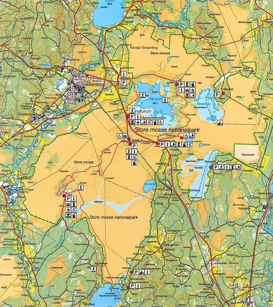 Karta över Store Mosse Nationalpark