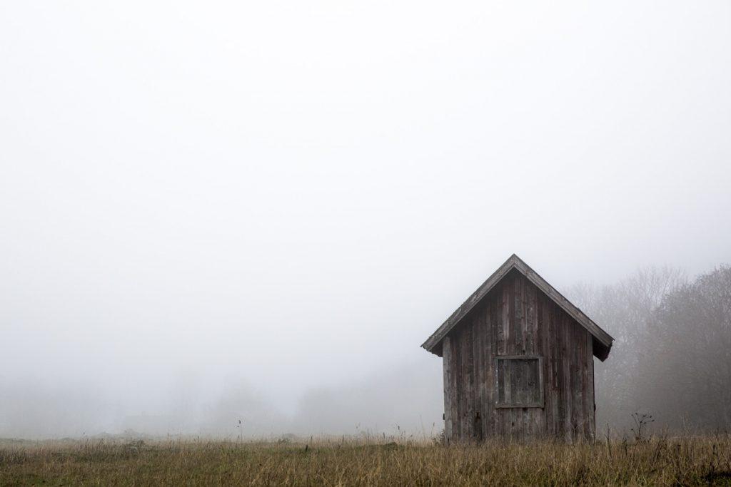En liten ensam bod visar sig i dimman och blir helt plötsligt ett vackert motiv