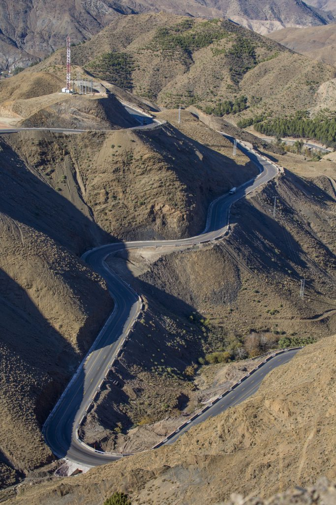 Tiz-n-tichka passet, en fin vägsträcka med högsta höjd på 2260 möh