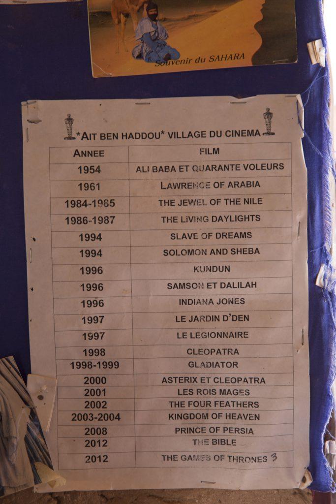 En lista på alla filmer som har spelats in i Ait Ben Haddou