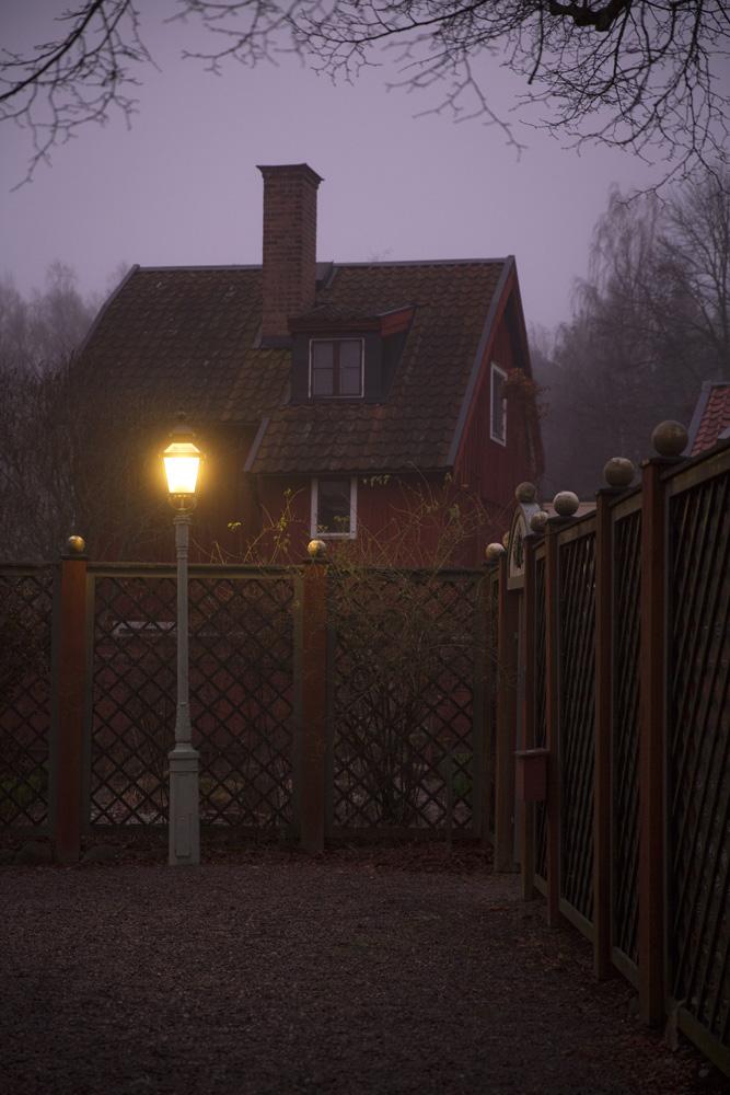 Gamla Linköping i decemberdimma
