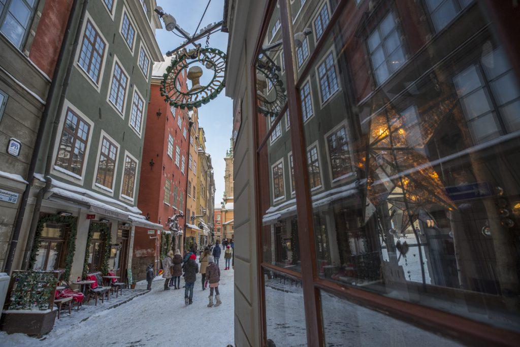 Vid Stortorget i Gamla Stan i Stockholm
