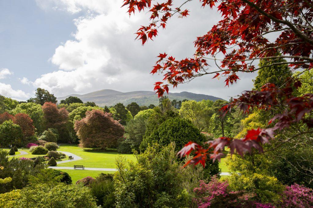 Den storslagna parken vid Muckross House ligger vackert vid sjön Muckross lake och mellan skogsklädda berg.