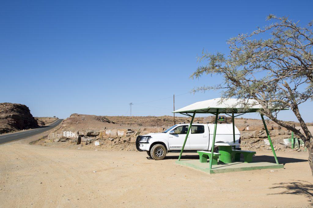 Typisk rastplats i Namibia
