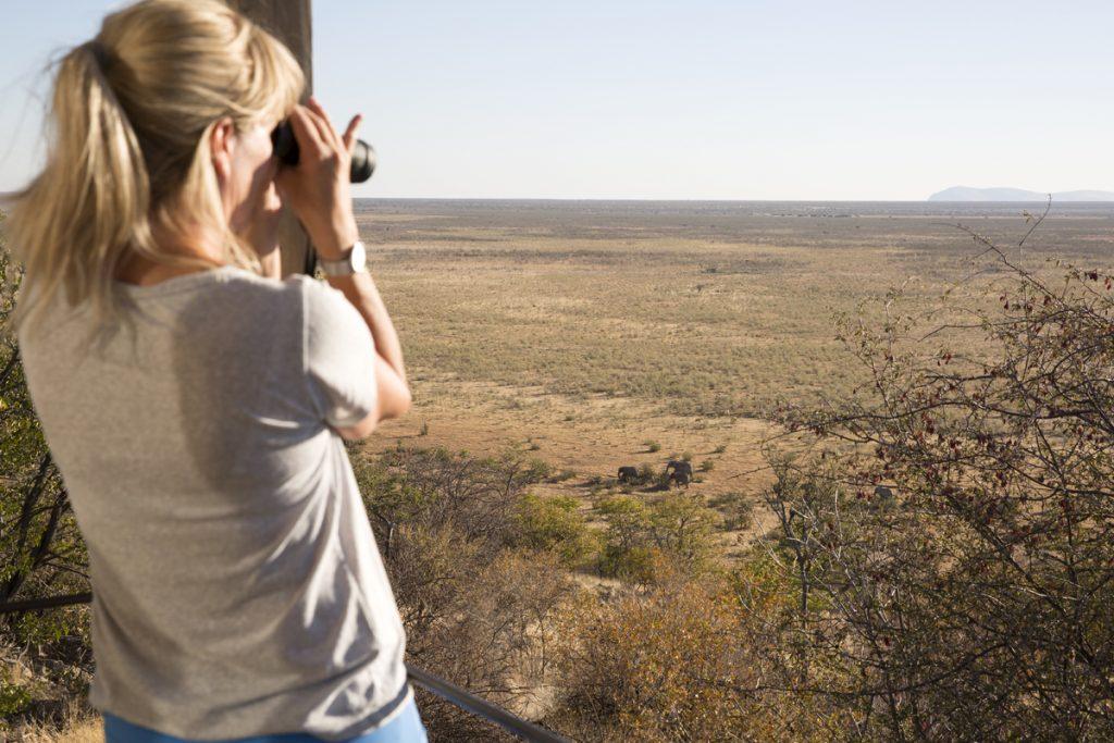 En makalös utsikt från vår altan över savannen i västra delarna av Etosha