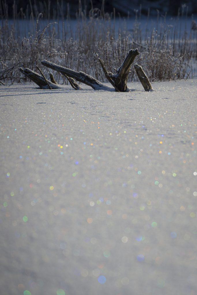Massor med färger i gnistrar i snön