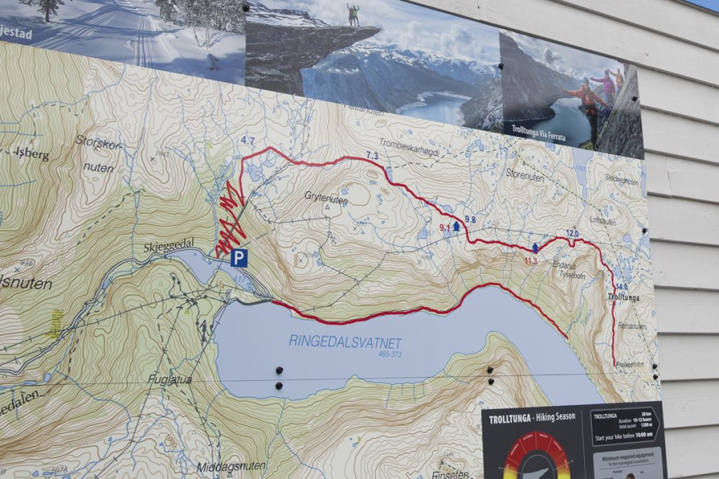 Hike to Trolltunga - map