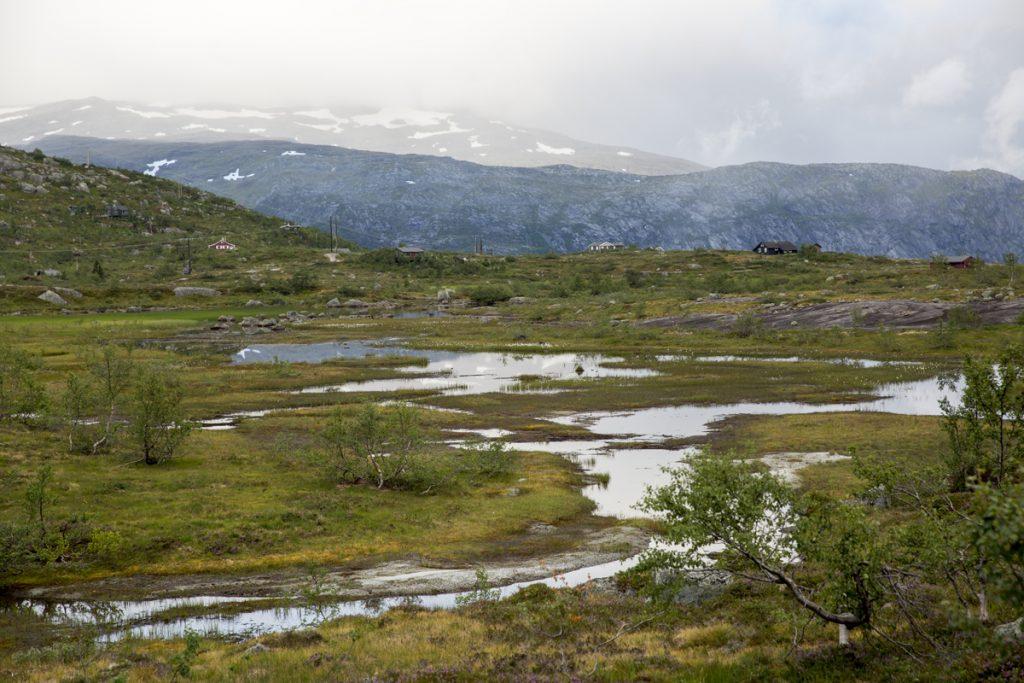 Man passerar några norska stugor första biten efter backen. Sedan ser man inte ett enda hus på hela vägen ,förutom de 2 rescue cabins som är utplacerade.